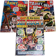 SOLD 1964 Sgt. Rock's Giant War Annual, Two Our Army at War Comics, 1960 and 1962
