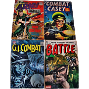 SOLD Four 1950's WWII & Korean War Comic Books, Fightin' Army, Battle Adventures of Combat B