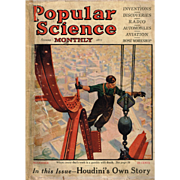 1925 Popular Science Featuring Harry Houdini's Own Story