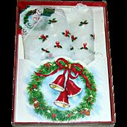 Vintage Treasure Masters Christmas Embroidered Handkerchief