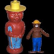 1967 Smokey Bear Bendy and 1960's Smokey Bear Soaky