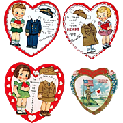 SOLD Four WWII Era Servicemen and Servicewomen Valentine Cards