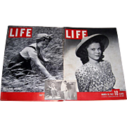 Shirley Temple Cover Life Magazines, July 1938, March 1942, and Shirley Temple and Buddy Ebsen