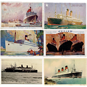 Six 20th Century World Famous Cruise Ship  Postcards