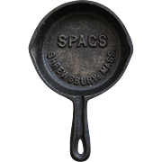 Vintage Miniature Cast Iron Skillet Pan Spag's Store Advertising