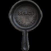 Vintage Miniature Cast Iron Skillet Pan Spag's Store Advertising