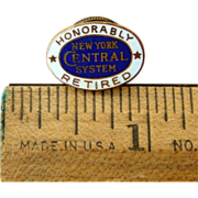 "New York Central Railroad ""Honorably Retired"" Service Pin"