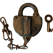 Early 1900s Grand Trunk GTLINE Railroad Switch Lock & Key Set