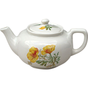 Santa Fe or Fred Harvey California Poppy Railroad China Tea Pot