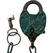 SOLD New York New Haven & Hartford Railroad Car Lock with Key Working Set