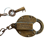 New York New Haven & Hartford Railroad ROADWAY DEPARTMENT Brass Lock & Key Set