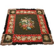 SOLD Breathtaking Hand Made Victorian Carriage Lap Robe w/ Embroidered Floral, Horse and Dog M