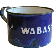 Wabash Railroad Blue & White Enamel Agateware Tin Cup