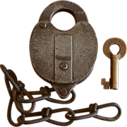 Early New York Central Railroad NYCRR Iron Switch Lock and Brass Key Set by Wilson ...