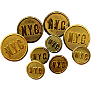 9 Brass New York Central Railroad Uniform Buttons