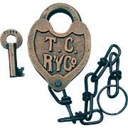 SOLD Fancy Castback 1942 Tennessee Central Railroad Heart Shape Brass Switch Lock With Key