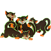 SOLD Group of FOUR Beistle Co. Large Halloween Die-Cut Cat Stand-Ups ca. 1920s-1930s