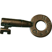 Antique Brass MCRR Maine Central Railroad Tapered Ring Barrel Key