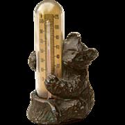 SOLD Adorable Little Bear Cub Thermometer Vintage Desk Art