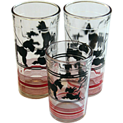 3 Terrier Dog Glasses: 2 Scarce Tall Tumblers, 1 Juice Glass - Scotties and Kerry Blue ...