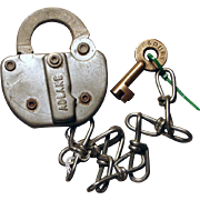 Vintage P&PURR Peoria & Pekin Union Railroad Switch Lock and Key Set