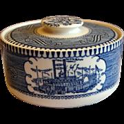 """REDUCED Scarce No-Handle Royal China """"Currier & Ives"""" Blue Sugar Bowl"""