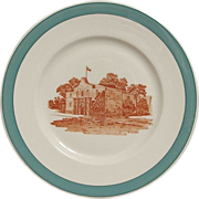 "REDUCED Missouri Kansas & Texas RR Big Green ""Alamo"" Railroad China Plate"