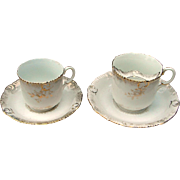 "SALE ""Mr & Mrs"" Victorian Gentleman's Mustache Cup & Lady's Tea Cup China Set"