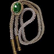 SALE Jeweler Confirmed:  My Dad's Green Jade Cabochon 1984 Bola Tie