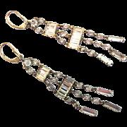Art Deco Sterling Paste Long Dangle Chandelier Earrings - Shoulder Dusters!