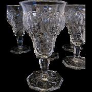 McKee Rock Crystal Tall Stem Goblet or Wine - Set of 5