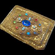 Art Nouveau Czech Brass and Jewels Calling Card Holder