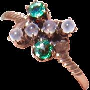 "Rare Antique 10k Rose Gold Moonstone and Demantoid Green Garnet Ring -7.75"""
