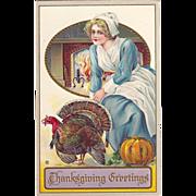 SOLD c1910 Thanksgiving postcard Novelty W/Glitter, Embossed Puritan Girl w/Turkey & Pumpkin