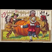 SOLD 1911 Fun Embossed Thanksgiving Postcard Pilgrim & Indian Children Dance Arounf Pumpkin