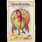 SOLD 1913 Fun Embossed Thanksgiving Postcard Fantasy TURKEY GIRL