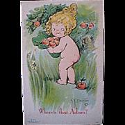 "SALE C1915 KLEVER KARD Postcard, Grace Drayton, Little Eve ""Whers That Adam?"""