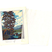 SOLD Trio Of Original Period Xmas Cards by Maxfield Parrish, Templed Hills, Winter Twilight, L