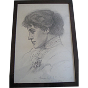 SOLD 1902 Original Rare Charcoal Self Portrait Florence Pearl England Nosworthy