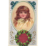 SOLD C1910 Gorgeous Embossed Unsigned Brundage Xmas Postcard