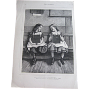 SOLD Just Lovely Original 11x15 1875 Engraving Little Girls at school by J. Clark