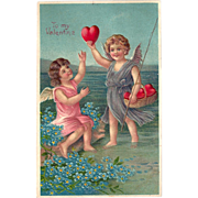 C1910 German Embossed Valentines Postcard Cupids Fishing for Hearts