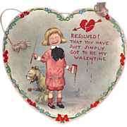 SOLD c1905 Big Heart Shaped valentines Day Card By Outcault, Raphael Tuck, Buster Brown & His