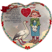 SOLD c1905 Big Heart Shaped valentines Day Card By Outcault, Raphael Tuck, Boy with Big Goose