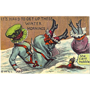"""SOLD Fun 1910 Postcard Ladies Slipping On snow, Bird Looks On """"its hard to get up these w"""