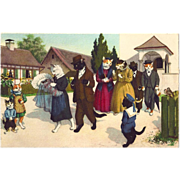 SOLD Fun Vintage Alfred Mainzer Postcard Dressed Cats at Kittens Christening