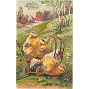 SOLD 1907 Too Cute Pair Of Easter Postcards, German PFB, Baby Chicks In A Basket & Wagon