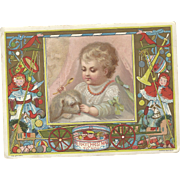 SOLD Lovely Victorian Christmas Card By Marcus Ward Baby w/Spoon & Dog, Christmas Toys