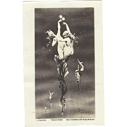 SOLD C1910 Lovely Real Photo Postcard TWIN STARS by L. Falero, Naked Nymphs