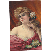SOLD c1910 Gorgeous Glossy Litho Postcard, Lovely Young Lady With Roses